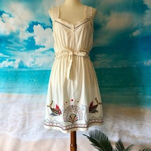 Anthropologie Mermaid Embroidered Dress Size L